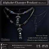 < Yabusaka >  Alphabet Changer Pendant (8 Letters)