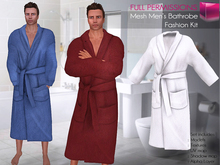 Full Perm CLASSIC RIGGED MESH Men's Male Long Closed Front Classic Bathrobe - 3 TEXTURES Blue, Bordeaux, White