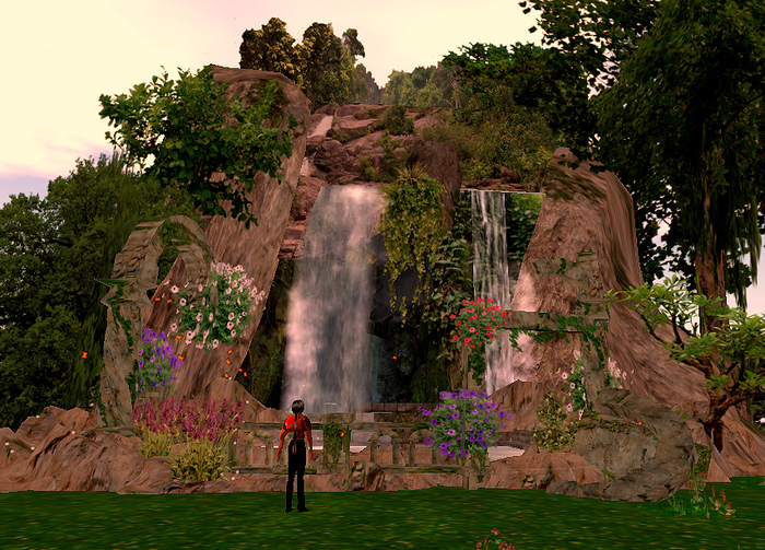 Romantic waterfalls with old ruins atmosphere