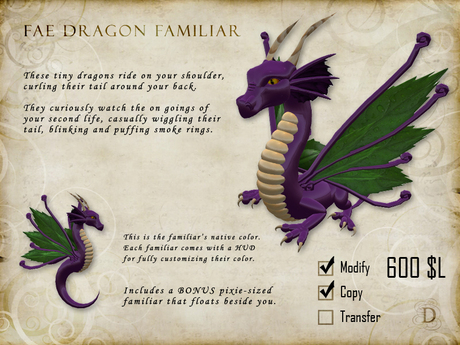Fae Dragon Familiar - Shoulder Pet
