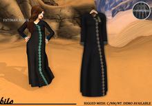 Bilo- Fatimah Abaya (Silver) Full Mesh