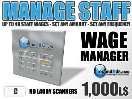 SecondAds Wage Manager (Copy Edition) - Pay Staff Wages & Salaries