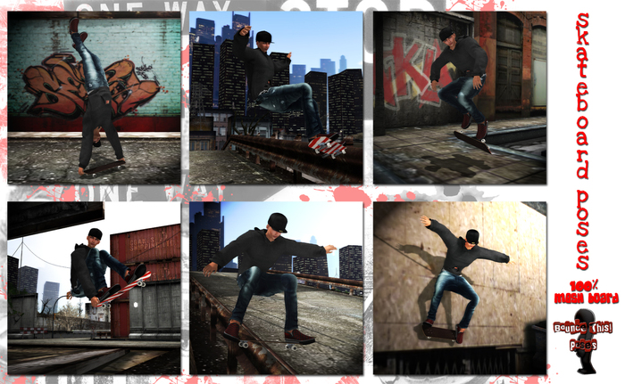 Bounce This Poses - Skateboard Poses
