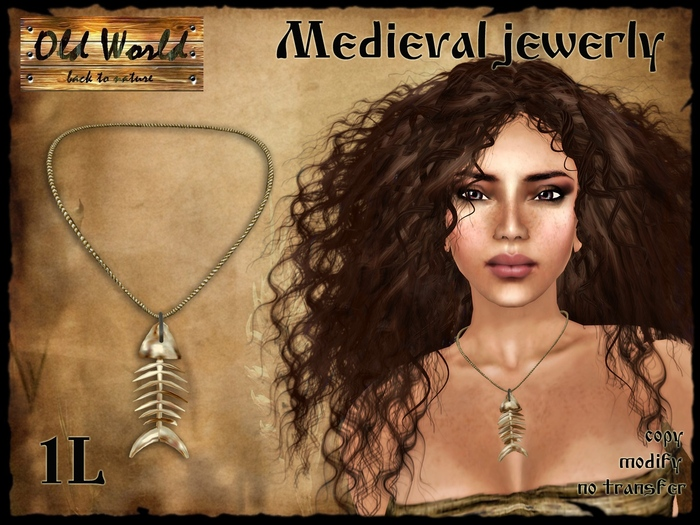 Medieval necklace - fish bone - Old World - Medieval / Fantasy / Rustic