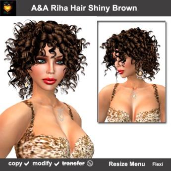 A&A Riha Hair Shiny Brown, rich spiral curls shoulder length hair. PROMO color!