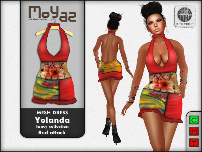 Yolanda Mesh Dress fancy collection Red Attack