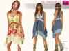 %50SUMMERSALE RIGGED MESH V-Neck Sleeveless Hank Boho Midi Dress - 2 TEXTURES Printed Cream - Orange, Printed Blue