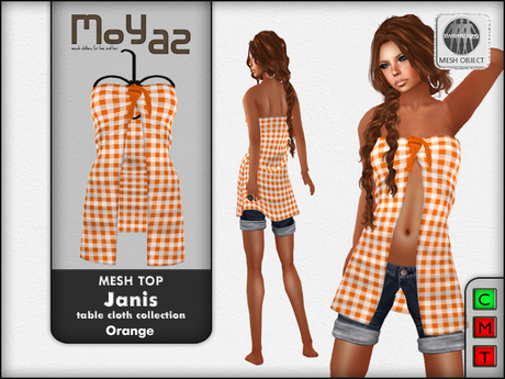 Janis Mesh Top orange - table cloth