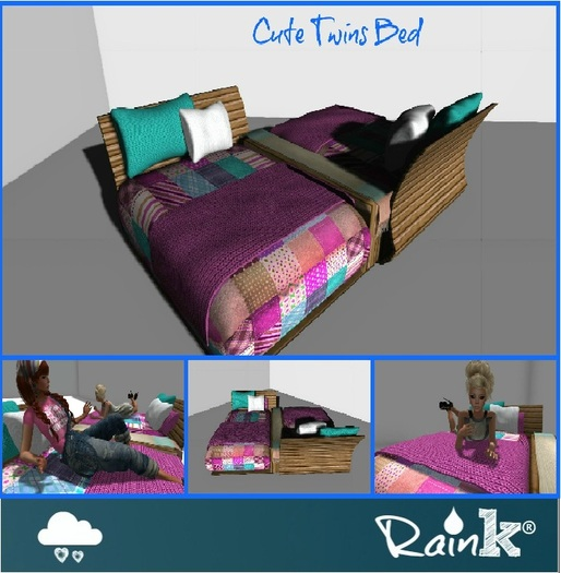 FREE GIFT .: Raink Box:.Cute Twins Bed:. Wear&Touch.: