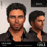Hair CRUZ - Black - REDGRAVE