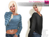 %50SUMMERSALE CLASSIC RIGGED MESH Women's Female Ladies Boat Neck Long Sleeve Drop Back Crop Sweater Top - 4 TEXTURES