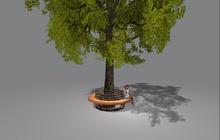 """3 prim """"3D Green Tree w Circle Bench"""" (mod, copy)"""