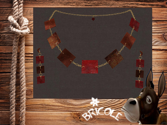 Square necklace and earrings brown red