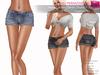 %50SUMMERSALE RIGGED MESH Women's Female Ladies Rolled Leg Micro Denim Shorts - 3 TEXTURES Black, Blue, Dark Navy