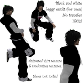 black and white baggy for men