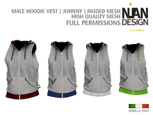 PROMO SUMMER 50% --- MALE HOODIE VEST * Johnny* - RIGGED MESH FULL PERMISSIONS
