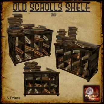 """Moon_Sha"" Old Scrolls Shelf Dark"