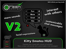●GD● Kitty Emotes HUD V2 [24 Sounds, Custom Chat Messages, Purr/Meow At Others] Neko Gesture Emoting Purring HUD
