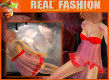 """Strapless top and panties set mesh """"red lace"""""""