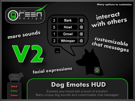 ●GD● Dog Emotes HUD [20+ Sounds, Custom Chat Messages, Bark/Growl at others] Puppy Gesture Emoting Howl Barking HUD