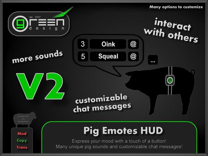●GD● Pig Emotes HUD [13 Sounds, Custom Chat Messages, Oink/Squeal at others] Piglet Piggy Boar Gesture Emoting HUD