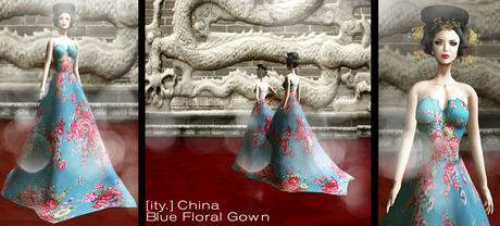 [ity.] China - Blue Floral Gown