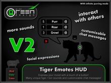 ●GD● Tiger Emotes HUD [16 Sounds, Custom Chat Messages, Purr/Roar At Others] Lion Neko Gesture Emoting Purring HUD
