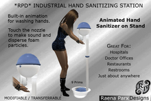 INDUSTRIAL HAND SANITIZING STATION ON STAND, ANIMATED - *RPD*