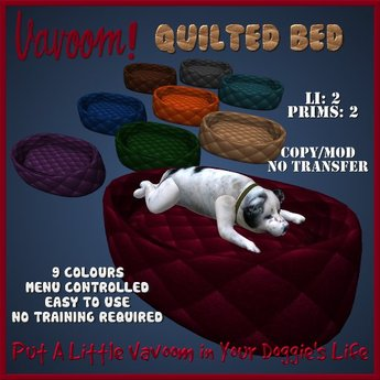 Quilted Dog Bed/Pet Bed by Vavoom! Boxed - Toys and Accessories for Virtual Kennel Club (VKC®) Pets-No Training Required