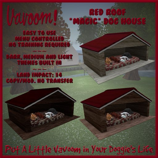 Red Roofed Multi-Dog Doghouse by Vavoom! - Toys and Accessories for Virtual Kennel Club (VKC®) Dogs