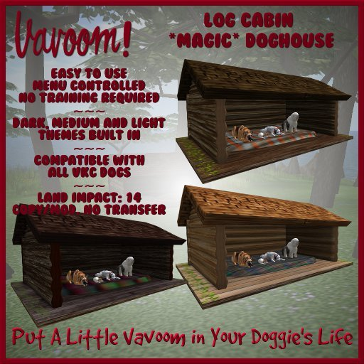 Log Cabin Multi-Pet House by Vavoom! - Toys and Accessories for Virtual Kennel Club (VKC®) Pets