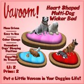 Heart-Shaped Wicker Multi-Pet Bed by Vavoom! Boxed - Supplies for Virtual Kennel Club (VKC®) Pets - No Training Required