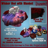 Wicker Bed with Blanket by Vavoom! Boxed - Supplies for Virtual Kennel Club (VKC®) Pets-No Training Required-Pet/Dog Bed