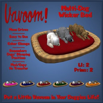 Wicker Multi-Dog Bed / Pet Bed by Vavoom! - Supplies for Virtual Kennel Club (VKC®) Pets - No Training Required