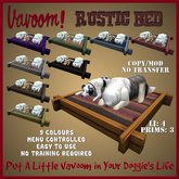 Rustic Dog Bed / Pet Bed by Vavoom! Boxed - Supplies for Virtual Kennel Club (VKC®) Pets - No Training Required