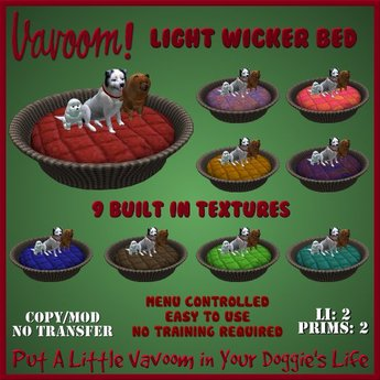 Round Wicker Bed [Light] by Vavoom! Boxed - Supplies for Virtual Kennel Club (VKC®) Pets - No Training Required