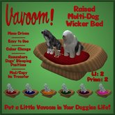 Raised Wicker Multi-Pet Bed by Vavoom! Boxed - Supplies for Virtual Kennel Club (VKC®) Pets - No Training Required