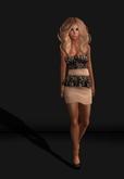 .R:R. Jane Peplum Dress - MESH - Nude Lace