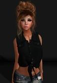 .R:R. Kaya - Cropped Tied Front Shirt - MESH - Black