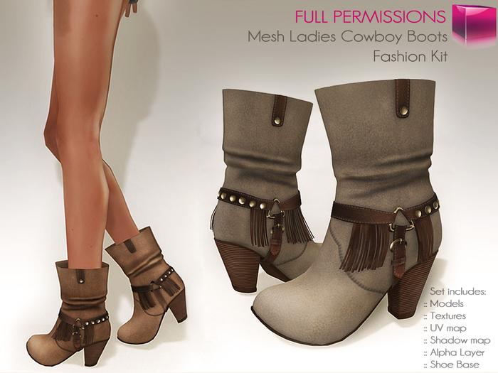 %50SUMMERSALE Full Perm Mesh Ladies Cowboy / Boho Boots
