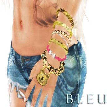 - B L E U - Bracelet Trio w/ Texture Change Braided Bracelet