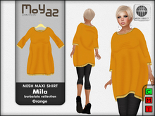 Mila Mesh Maxi Shirt ~ Burbalula collection - Orange
