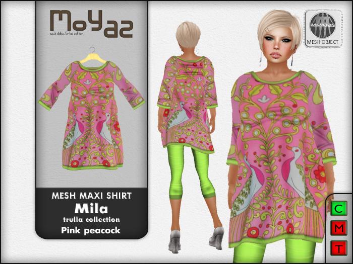 Mila Mesh Maxi Shirt ~ Trulla collection - pink peacock