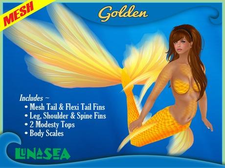=LunaSea= Mermaid Tail - Golden
