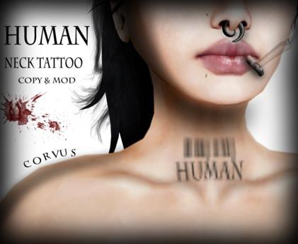 Corvus : Human Neck Tattoo Bom