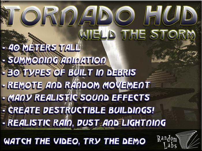 Tornado HUD - 40m Tall, rain, snow, lightning, debris, destructible buildings!
