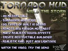 Tornado HUD - 40m Tall, rain, snow, lightning, debris, create your own destructible buildings!