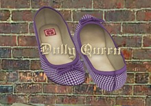 **Dolly Queen** Houndstooth Mesh Ballet Flats (Grape)