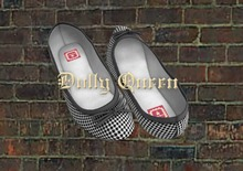 **Dolly Queen** Houndstooth Mesh Ballet Flats (Black)
