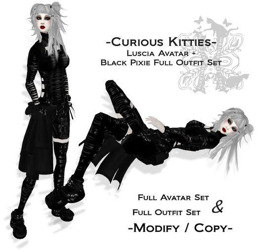 =^.^= Curious Kitties - Luscia Complete Avatar Set + Black Pixie Full Outfit Set